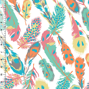 Desert Sky Feathers Cotton Spandex Knit Fabric