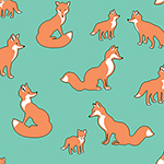 Desert Sky Fox Family Cotton Spandex Knit Fabric