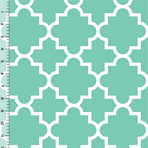 Half Yard Desert Sky Mint Quatrefoil Cotton Spandex Knit Fabric