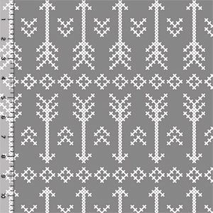 Desert Sky Gray Stitched Arrow Cotton Spandex Knit Fabric