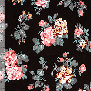 Half Yard Exclusive Collection Orleans Rose on Black Cotton Spandex Knit Fabric