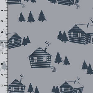 Homestead Life Cabin in the Woods Cotton Spandex Knit Fabric