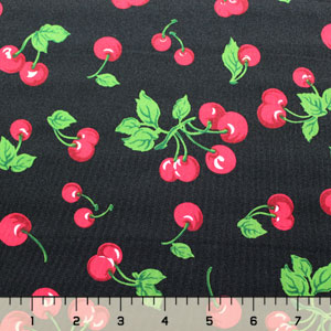 Half Yard Cherries on Black Lycra Spandex Knit Fabric
