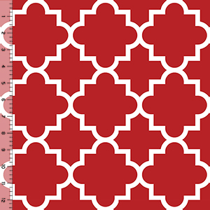 Half Yard Jolly Holiday Red Quatrefoil Cotton Spandex Knit Fabric
