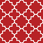 Jolly Holiday Red Quatrefoil Cotton Spandex Knit Fabric