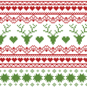 Slightly Flawed Jolly Holiday Fair Isle Deer Heart Cotton Spandex Knit Fabric