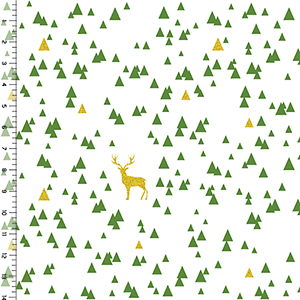 Half Yard Jolly Holiday Sparkle Triangle Stag Cotton Spandex Knit Fabric