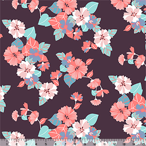 Half Yard Modern Reflection Paper Cut Floral Cotton Spandex Knit Fabric