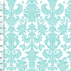 Modern Reflection Aqua Baroque Cotton Spandex Knit Fabric