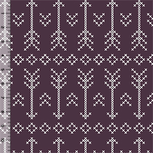 Modern Reflection Plum Stitched Arrows Cotton Spandex Knit Fabric