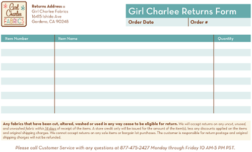 Download our return form to complete and include with your order!