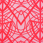 Neon Coral Cross Lines on Rose Pink Peach Skin Fabric