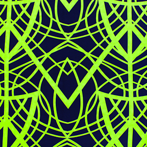 Neon Green Cross Lines on Navy Blue Peach Skin Fabric