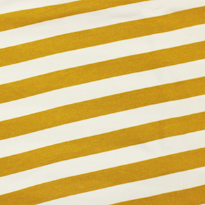 Slightly Flawed Mustard and Ivory Stripe Cotton Spandex Knit Fabric