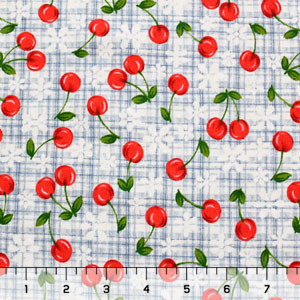 Cherries on Check Cotton Interlock Knit Fabric
