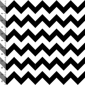Black Chevron on White Cotton Jersey Blend Knit Fabric