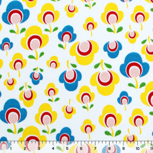 Retro Poppy Blue Cotton Jersey Knit Fabric