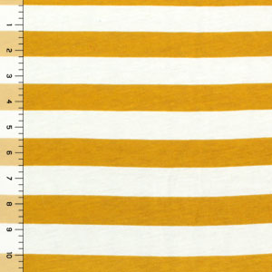 Half Yard Mustard and Ivory Stripe Cotton Spandex Knit Fabric