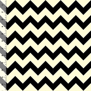 Black Chevron on Cream Cotton Jersey Knit Fabric