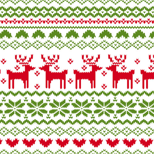 Half Yard Red Green FairIsle Reindeer Pattern on White Cotton Jersey Blend Knit Fabric