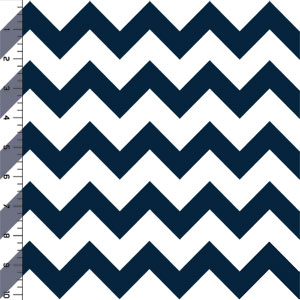 Slightly Flawed Oxford Blue Chevron on White Cotton Jersey Blend Knit Fabric