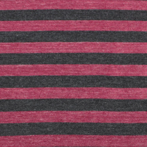 Heather Red and Black Stripe Tri Blend Cotton Jersey Knit Fabric