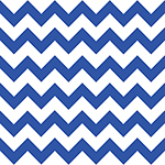 Royal Blue Chevron on White Cotton Jersey Blend Knit Fabric