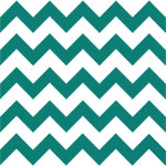 Teal Green Chevron on White Cotton Jersey Blend Knit Fabric