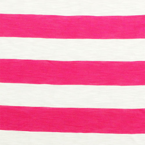 Fuchsia Pink and White Big Stripe Cotton Jersey Slub Knit Fabric