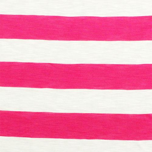 Fuchsia Pink and White Big Stripe Cotton Jersey Slub Knit Fabric