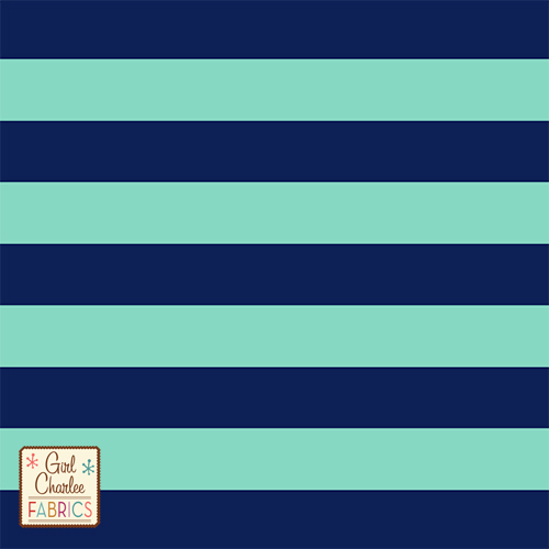 Navy Blue and Deep Mint Stripe Cotton Jersey Blend Knit Fabric