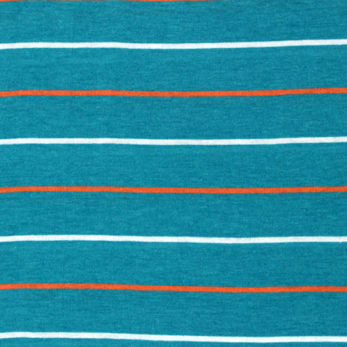 Orange White Small Stripe on Turquoise Blue Cotton Jersey Knit Fabric