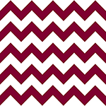 School Maroon Chevron on White Cotton Jersey Blend Knit Fabric