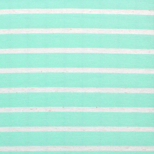 Mint Green and Oatmeal Stripe Cotton Jersey Blend Knit Fabric