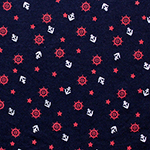 Silver Anchors on Black Cotton Jersey Knit Fabric
