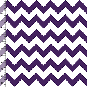 Half Yard Acai Purple Chevron on White Cotton Jersey Blend Knit Fabric