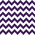 Acai Purple Chevron on White Cotton Jersey Blend Knit Fabric