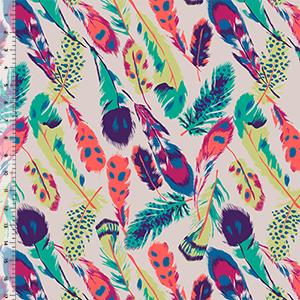 Original Feathers on Silver Peony Cotton Jersey Blend Knit Fabric