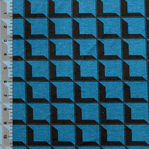 Slightly Flawed Black Prism Square on Blue Cotton Jersey Blend Knit Fabric