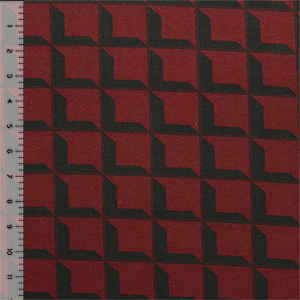 Slightly Flawed Black Prism Square on Maroon Cotton Jersey Blend Knit Fabric
