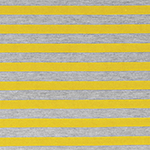 Mustard Yellow Heather Gray Half Inch Stripe Cotton Jersey Blend Knit Fabric