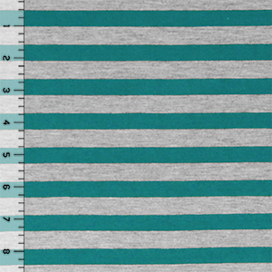 Teal Green Heather Gray Half Inch Stripe Cotton Jersey Blend Knit Fabric