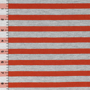 Red Orange Heather Gray Half Inch Stripe Cotton Jersey Blend Knit Fabric