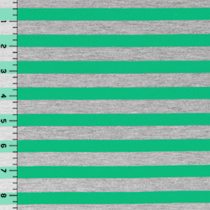 Kelly Green Heather Gray Half Inch Stripe Cotton Jersey Blend Knit Fabric