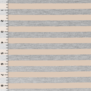 Nude Beige Heather Gray Half Inch Stripe Cotton Jersey Blend Knit Fabric