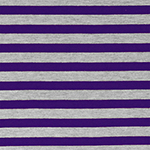 Purple Heather Gray Half Inch Stripe Cotton Jersey Blend Knit Fabric