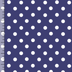 Anchors Away White Dots on Blue Cotton Spandex Knit Fabric