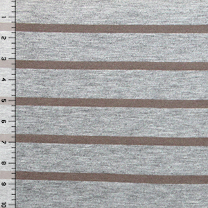 Shitake Brown Heather Gray Small Stripe Cotton Jersey Blend Knit Fabric