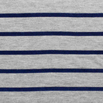 Navy Blue Heather Gray Small Stripe Cotton Jersey Blend Knit Fabric
