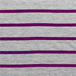 Magenta Pink Heather Gray Small Stripe Cotton Jersey Blend Knit Fabric